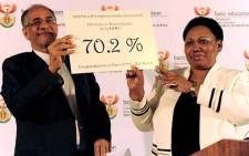 Ministers Angie Motshekga and Enver Surty at the release of the 2011 Matric Results at National Library on 4 January 2012. Picture: GCIS/SAPA