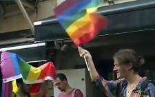 A screengrab shows demonstrators seen during a Pride parade in Istanbul. Picture: CNN.
