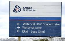 A file picture taken on 16 January 2013 shows a direction sign at Anglo American Platinum mine in Rustenburg, northwest of Johannesburg.  Picture: AFP