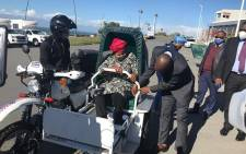 Eastern Cape Health MEC Sindiswa Gomba tests out the province's EMS scooters. Picture: Healthmec/Facebook