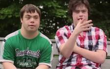 A screengrab showing the two down syndrome teenagers, Sam Suchman and Mattie Zufelt are fans of horror movies and developed the concept, wrote the script and are the principal actors.