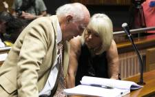 Former South African tennis star Bob Hewitt and his wife Delaille at the Palm Ridge Magistrate's Court where Hewitt faces charges of rape and indecent assault. Picture: Kgothatso Mogale/EWN