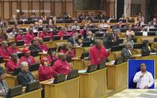 FILE.: Economic Freedom Fighters (EFF) MPs in Parliament during impeachment debate against President Jacob Zuma. Picture: Screengrab.