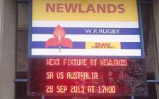 The Springboks will play against the Wallabies at Newlands Stadium on 28 September 2013. Picture: Jean Smyth/EWN Sport