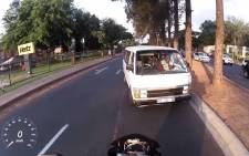 A video screengrab showing a taxi in Bryanston on the wrong side of the lane.