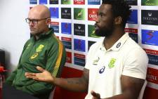 South Africa's captain Siya Kolisi (R) and head coach Jacques Nienaber attend a press conference on 12 September 2021. Picture: AFP