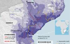 An updated graphic showing the situation in Mozambique, Zimbabwe and Malawi after flooding this week, including details on road conditions. Picture: AFP