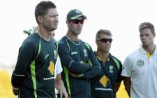 The Australian cricket team captained by Michael Clarke (L) will head home from Abu Dhabi after their first series loss to Pakistan in two decades. Picture: Official Cricket Australia Facebook page.