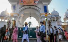 Sikh pilgrims visit the shrine in Nankana Sahib, some 75 kms west of Lahore on November 7, 2019, on the occasion of the 550th birth anniversary of Guru Nanak Dev. Picture: AFP