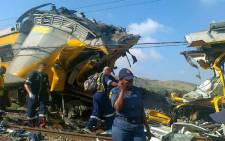 Emergency personnel at the scene of a train crash in Atteridgeville on 31 January 2013. Picture: Netcare.
