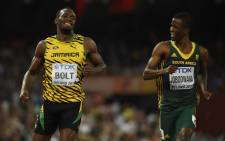 Anaso Jobodwana ran a personal best 20.01sec to book a place in the 200-metre final at the World Championships in Beijing, China on 26 August 2015. Picture: AFP.