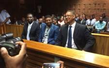 FILE: Former Ipid investigators Matthews Sesoko and Innocent Khuba and suspended Ipid head Robert McBride in court in March 2016. Picture: Barry Bateman/EWN.