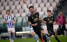 Manchester United's Bruno Fernandes celebrates scoring a goal against Real Sociedad during their Uefa Europa League match on 18 February 2021. Picture: @ManUtd/Twitter