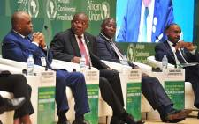 President Cyril Ramaphosa participating as a panelist in the African Continetal Free Trade Area Business Forum at the AU's 10th extraordinary summit on 20 March 2018. Picture: @PresidencyZA/Twitter