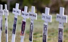 FILE: Miniature crosses are displayed to commemorate the ten-year anniversary of the Columbine High School shootings at Clement Park 20 April 2009 in Littleton, Colorado. Columbine was the site of the then deadliest school shooting in modern United States history when, on 20 April 1999, Eric Harris and Dylan Klebold killed 12 students and one teacher, and wounded 23 others, before taking their own lives. Picture: AFP