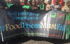 A march for food prices to fall and calls for basic foods to be sold at cost. Picture: Kgothatso Mogale/EWN