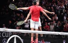 Team Europe's Nick Kyrgios and Jack Sock celebrate after defeating Rafael Nadal and Tomas Berdych in the doubles to salvage a point for Team World. Picture: lavercup.com