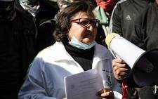 ANC deputy secretary-general Jessie Duarte addresses ANC staffers picketing outside the party's headquarters of Luthuli House in Johannesburg on 15 June 2021 over unpaid salaries. Picture: Xanderleigh Dookey Makhaza/Eyewitness News