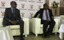 Deputy Police Minister Bongani Mkongi (left) in Khayelitsha to introduce new Hawks head Frans Kgomo to the community. Picture: Monique Mortlock/EWN.
