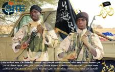 An image released on 7 December, 2015 by Al-Ribat Media Foundation, the media unit of the Mali-based jihadist organisation al-Murabitoon allegedly shows a picture of Abdul Hakim and Muadh al-Fulani, two fighters involved in the Radisson Blu Hotel attack in Bamako. Picture: AFP.