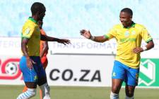 Mamelodi Sundowns players celebrate a goal in their 4-0 defeat of Polokwane City in their Nedbank Cup match on 10 March 2021. Picture: @Masandawana/Twitter