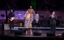 FILE: Singer Sibongile Khumalo and Hugh Masekela in concert on April 4, 2014 in New York. Picture: AFP