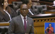 A YouTube screengrab of former Finance Minister Malusi Gigaba delivering the Budget speech in Parliament on 21 February 2018.
