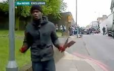 A screengrab shows one of the men who carried out in the brutal beheading in South London. Picture: ITV Video via Youtube