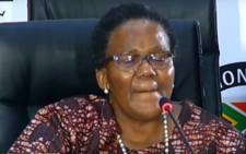 A screengrab of former Transport Minister Dipuo Peters at the state capture inquiry on 23 February 2021. Picture: SABC/YouTube.