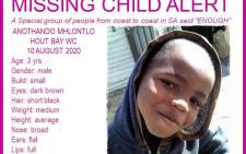 Missing 3-year-old Anothando Mhlontlo. Pictire: MissingMinorsThePinkLadiesOrganizationNgo2007/Facebook