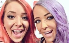 Popular vlogger Jenna Marbles (left) poses with her wax figure. Picture: Twitter @Jenna_Marbles