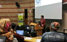 FILE: Professor Ruth Hall speaks at a public lecture on the current land debate in South Africa at the University of the Western Cape. Picture: @UWConline/Twitter.
