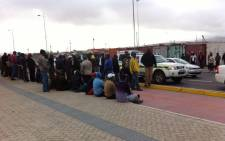 Striking drivers gather at the Du Noon MyCiti bus station on 30 October 2014. Picture: Carmel Loggenberg/EWN.