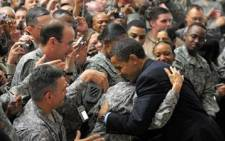 American President Barack Obama pays a surprise to US troops in Iraq. Picture: AFP