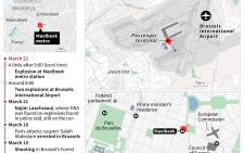 A visual representation of the Brussels terrorist attacks. Infographic: AFP.