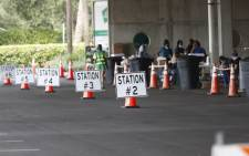 Stations are set for patients at the COVID-19 drive-thru testing site at the Duke Energy for the Arts Mahaffey Theater on 8 July 2020 in St. Petersburg, Florida. Picture: AFP