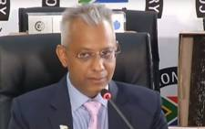 A screengrab of former Transnet CFO Anoj Singh giving evidence at the state capture inquiry on 12 March 2021. Picture: SABC/YouTube