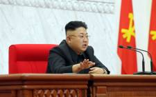 North Korean leader Kim Jong-Un attending a meeting of the Political Bureau of the Central Committee of the Workers' Party of Korea in Pyongyang on 8 April 2014. Picture: AFP.