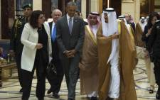 US President Barack Obama speaks with King Salman bin Abdulaziz Al-Saud of Saudi Arabia at Erga Palace in Riyadh on 20 April, 2016. Picture: AFP.