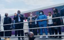 President Cyril Ramaphosa (holding microphone) at the official launch of the Vooma Vaccine Weekend in Katlehong on Friday, 1 October 2021. Picture: Gauteng government/Twitter.