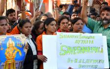 Indian Hindu devotees of the deity Ayyappa stage a protest against the Kerala state government, over the entry of two women at the Sabarimala temple, in Bangalore on 3 January 2019. Picture: AFP
