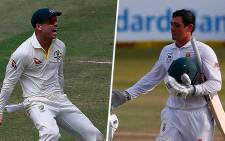Australia's David Warner (L) and South Africa's Quinton de Kock (R) were involved in a scuffle in the first Test in Durban. Picture: Twitter/@CricketAus