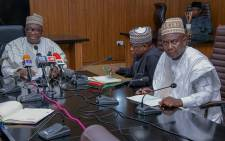 Niger deputy governor Alh Ahmed Mohammed Ketso (left) gives a briefing on 2 June 2021 on the kidnapping of 136 schoolchildren. Picture: @NigerStateNG/Twitter