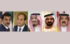 This combination of file pictures created on June 5, 2017, shows (L to R) Qatar's Emir, Sheikh Tamim bin Hamad al-Thani in New York on September 20, 2016, Egyptian President Abdel Fattah al-Sisi in Cairo on March 2, 2017, Saudi King Salman in Riyadh on January 1, 2013, Prime Minister of the United Arab Emirates (UAE) and ruler of Dubai, Sheikh Mohammed bin Rashid al-Maktoum, in Riyadh on May 05, 2015 and Bahrain's King Hamad bin Issa al-Khalifa in Riyadh on May 21, 2017. Gulf states on June 5, 2017 cut diplomatic ties with neighbouring Qatar and kicked it out of a military coalition, less than a month after the US president visited the region to cement ties with powerhouse Saudi Arabia.