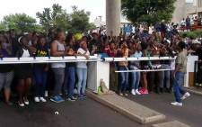 Students are blocking exits at Wits University during a protest over fee increases on 14 October 2015. Picture: EWN.