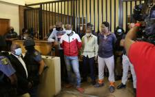 The five men accused of the 2014 murder of Bafana Bafana captain Senzo Meyiwa appear in the Boksburg Magistrates Court on 5 March 2021. Picture: AfriForum