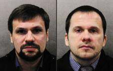 This combination of undated handout pictures released by the British Metropolitan Police Service created in London on 5 September 2018 shows Ruslan Boshirov and Alexander Petrov, who are wanted by British police about the nerve agent attack on former Russian spy Sergei Skripal and his daughter Yulia. Picture: AFP.