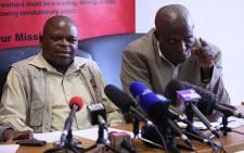 FILE: The National Union of Mineworkers' General Secretary Frans Baleni and president Senzeni Zokwana. Picture: Taurai Maduna/EWN.