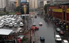 Taxis parked off on the left while commuters remain stranded on the right during a taxi driver protest outside Bree Street taxi rank in Johannesburg CBD on 3 February 2014. Picture: @Mokgomogne via Twitter.