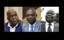 This combination of pictures created on September 19, 2018 shows leader of the Democratic Republic of Congo's political party Union for Democracy and Social Progress (UDPS), Felix Tshisekedi (L), on 12 September 2018 in Brussels, former interior minister, Emmanuel Ramazani Shadary (C), in Kinshasa on 8 August 2018, and president of the Union for the Congolese Nation (UNC), Vital Kamerhe (R), on 12 January 2018 in Kinshasa. Picture: AFP.